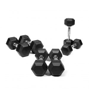 GYM GEAR RUBBER HEX DUMBBELL SET