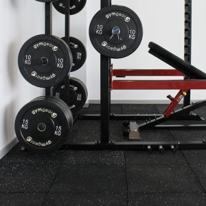 GYM GEAR BLACK OLYMPIC RUBBER BUMPER PLATES