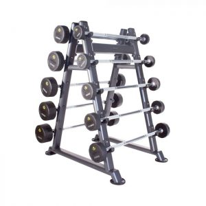 PHYSICAL COMPANY 10 PAIR PU BARBELL SET WITH RACK