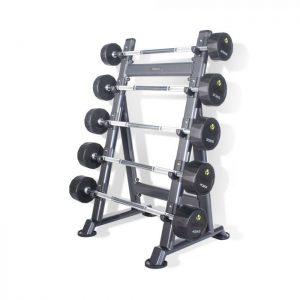 PHYSICAL COMPANY 5 PAIR PU BARBELL SET WITH RACK